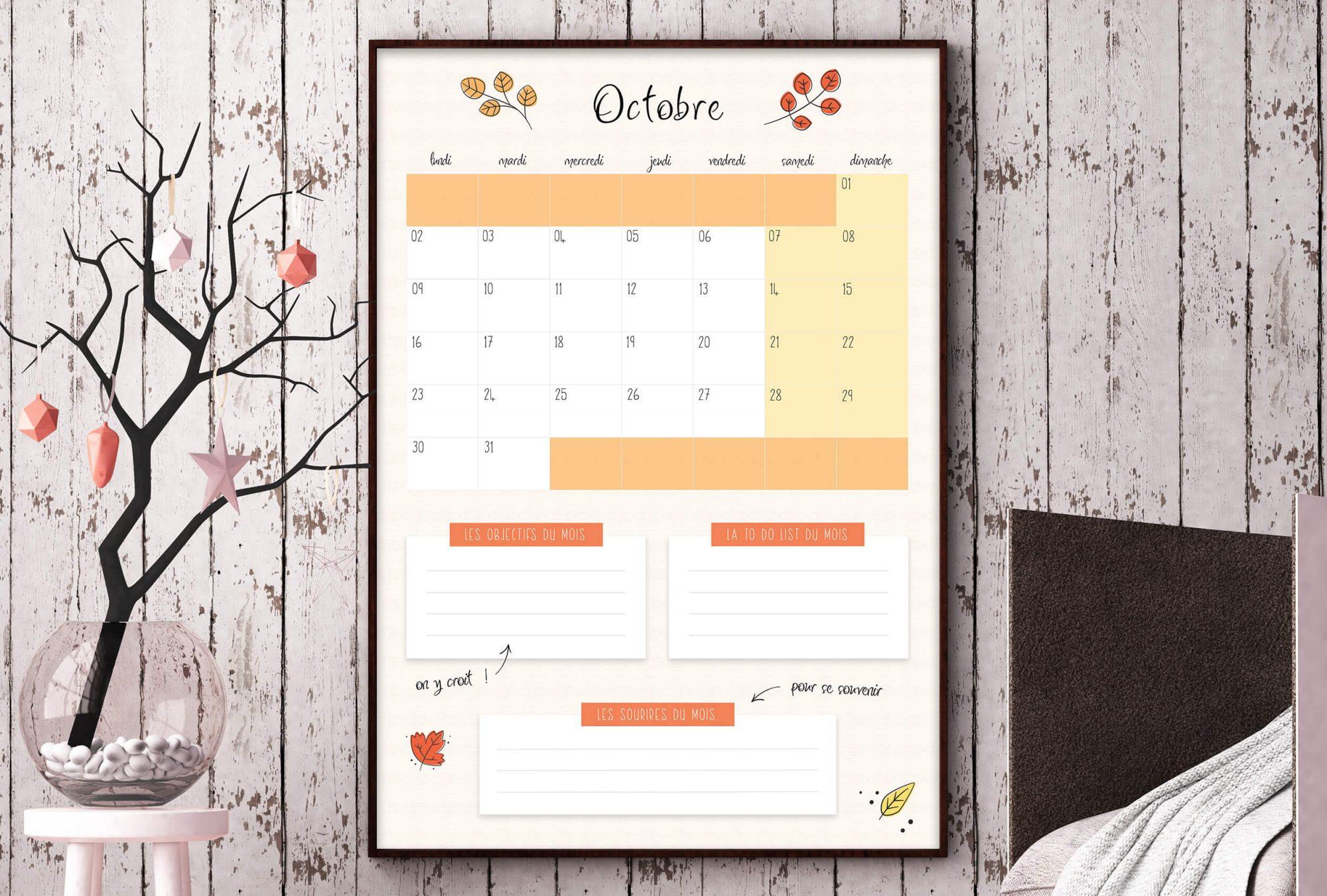 Freebie : calendrier Octobre 2017 à télécharger.