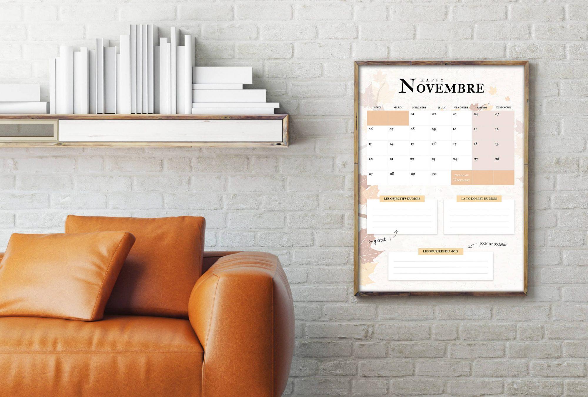 Freebie : calendrier Novembre 2017 à télécharger !