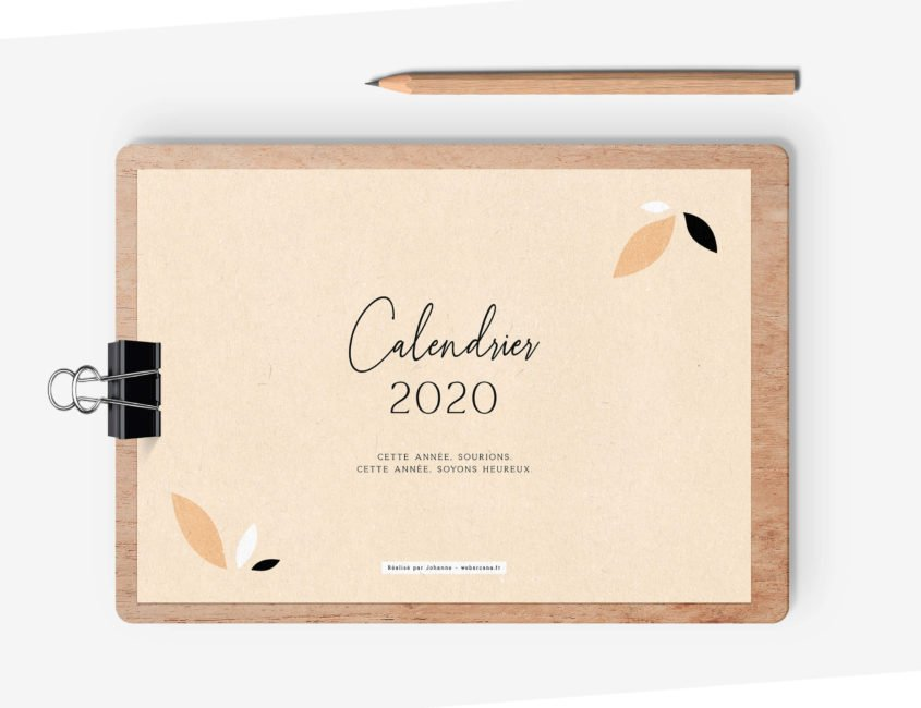 Calendrier 2020 - Mockup