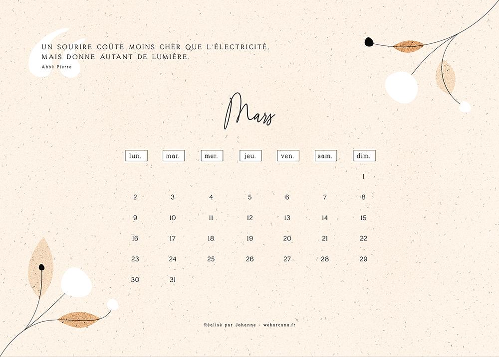 calendrier 2020 Mars